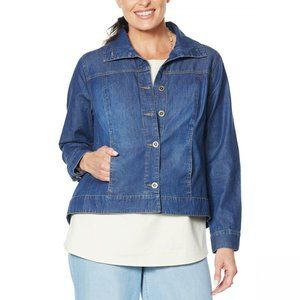 NWT Lightweight Chambray Jean Jacket Large Blue